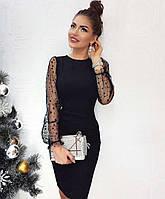 Платье женские коктейльное, черное, материал - замша, рукав - сетка с бархатным горохом, код G-120