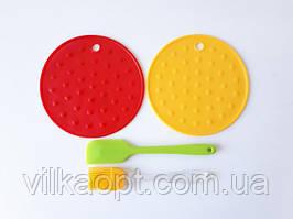Підставка під гаряче силіконова щіточка кондитерська і лопатка для кухні 4 предмета в наборі