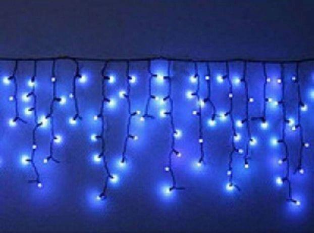 Гирлянда уличная бахрома 5 м 120 LED синий, фото 2