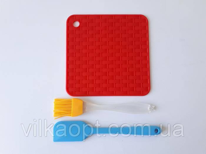 Подставка под горячее силиконовая кисточка кондитерская и лопатка для кухни 3 предмета в наборе