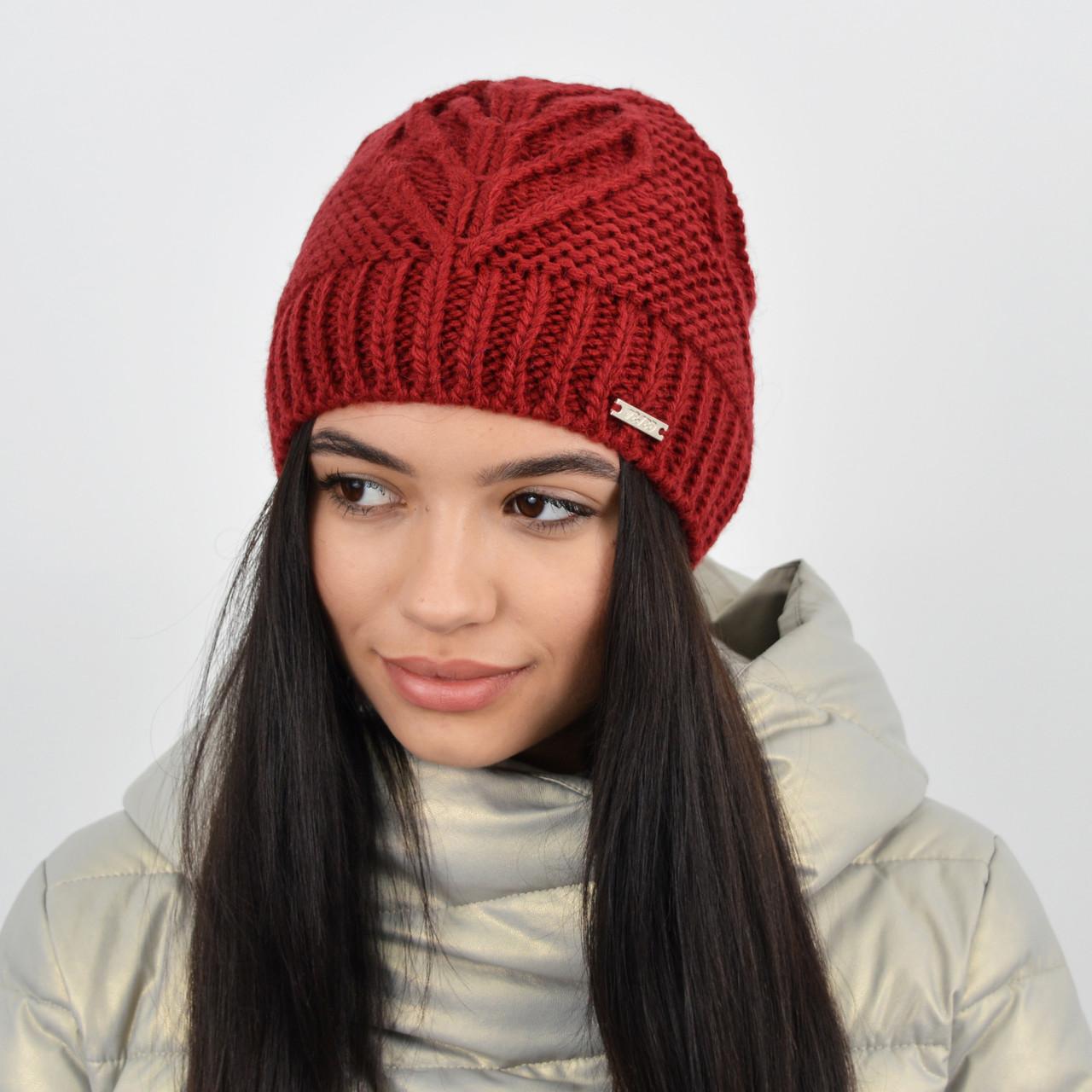 Женская шапка на флисе 3323 Бордо