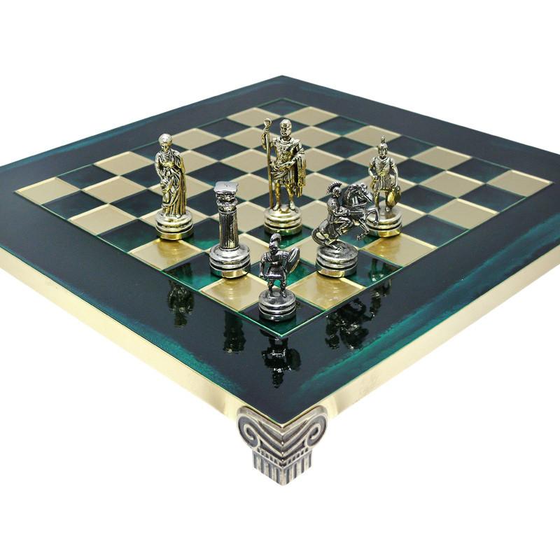 Шахматы «Римляне», зеленые,Греция, MANOPOULOS 28х28 см (088-0303S)