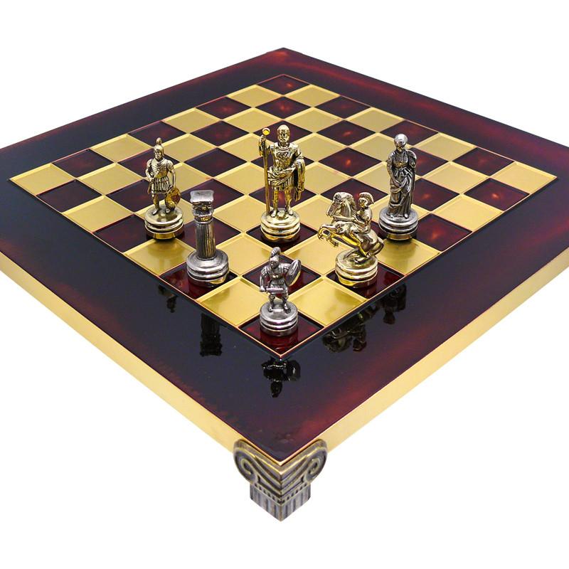 Шахматы «Римляне», красные,Греция,MANOPOULOS 28х28 см (088-0304S)