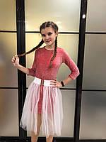 Детское нарядное блестящее платье для девочки7-12лет, красного цвета