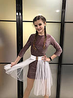 Детское нарядное блестящее платье для девочки7-12лет, бордового цвета