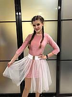 Детское нарядное блестящее платье для девочки7-12лет, розового цвета