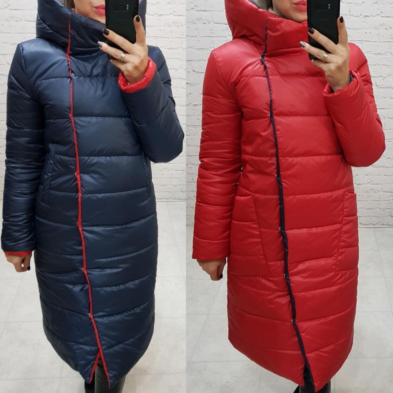 Wow!!! Двухсторонняя куртка еврозима с капюшоном, арт 1007,цвет красный  +  тёмно синий