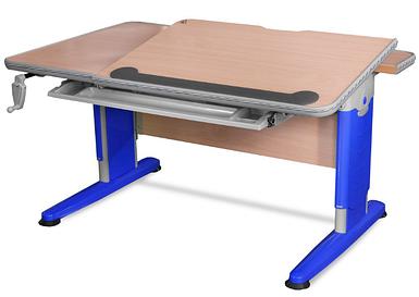 Стол Mealux Detroit Blue (арт.BD-320 NT/B) - столешница клен / цвет пластика синий