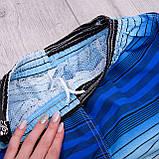 Чоловічі шорти в лінію (плащівка), синього кольору, фото 4