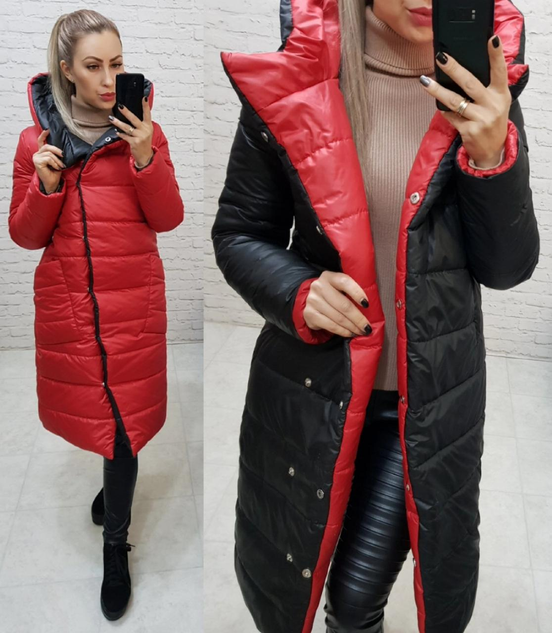 Wow!!! Двухсторонняя куртка еврозима с капюшоном, арт 1007,цвет красный  +  чёрный