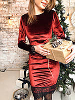 Нарядное платье с кружевом приталенное платье