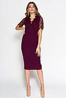 Женское платье-миди с короткими рукавами из гипюра (Менди jd)