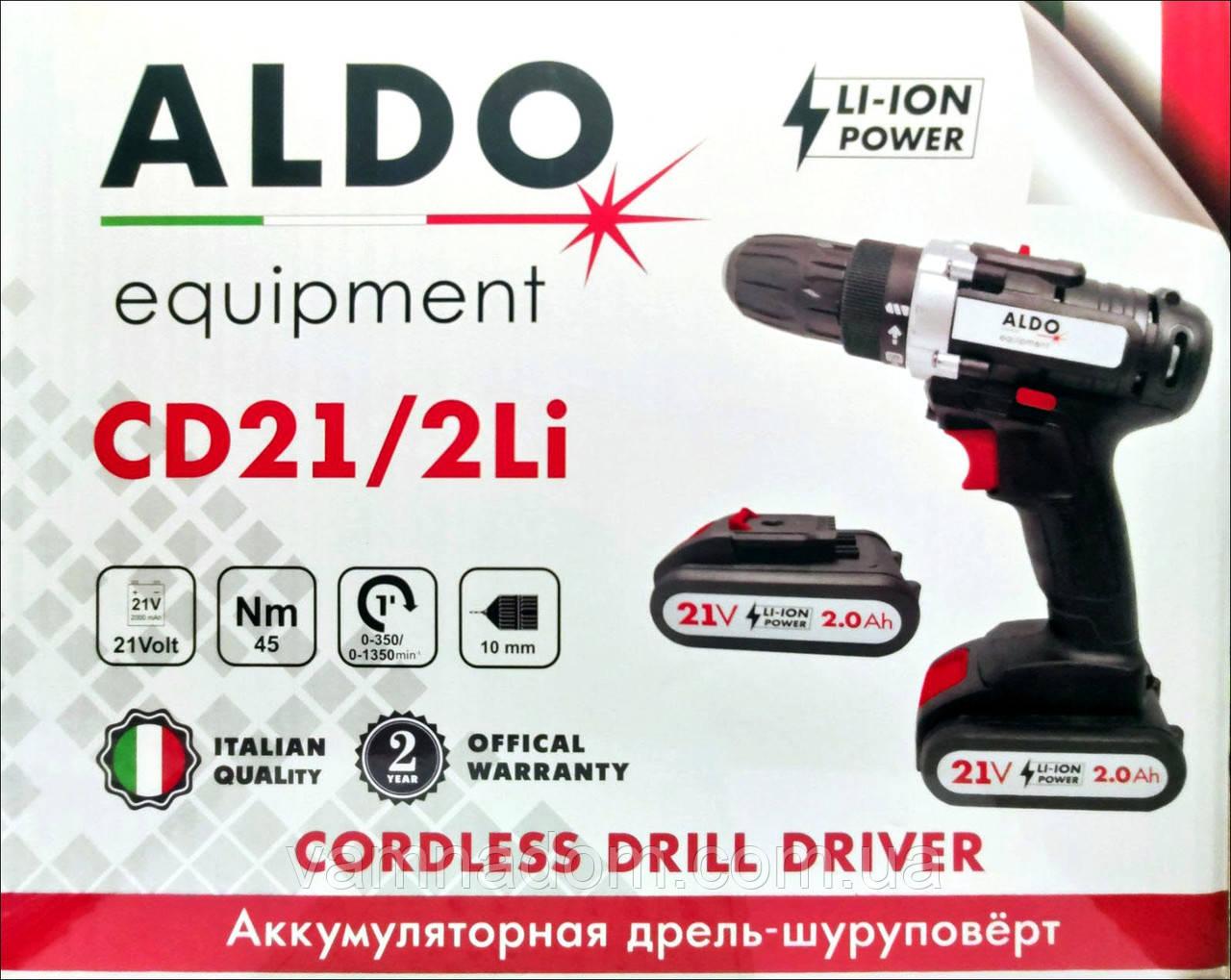 Аккумуляторный шуруповерт ALDO CD21/2Li