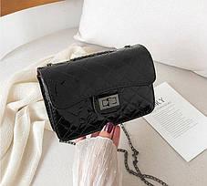 Стильная стеганная женская сумка сундучок Голограма, фото 3