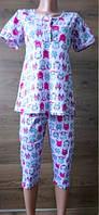 Розовая пижама с совами и футболкой для кормления 44-58 р