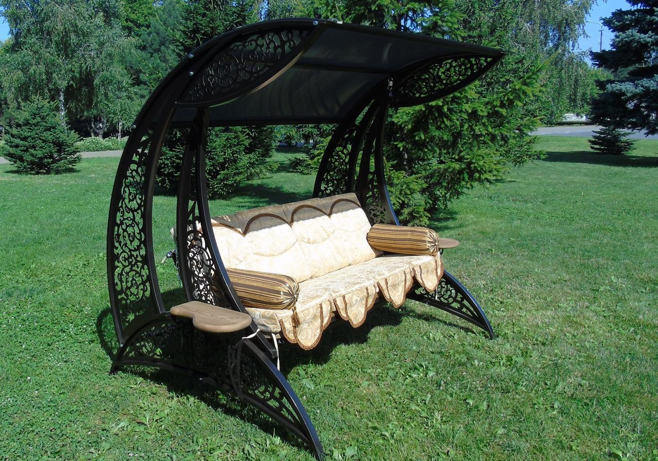"""Качели садовые """"Дубаи"""" черного/коричневого цвета (с мягкой частью), материал основы сидения - дуб"""