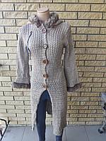 Кардиган женский вязаный,на пуговицах, с капюшоном LASTING, Турция