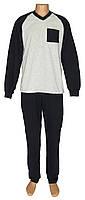 Пижама теплая мужская трикотажная 19077 Reglan Soft коттон начес темно-синяя