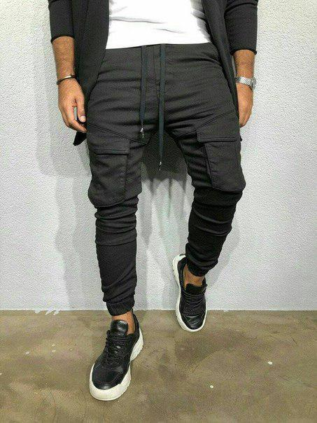 Мужские черные трикотажные штаны