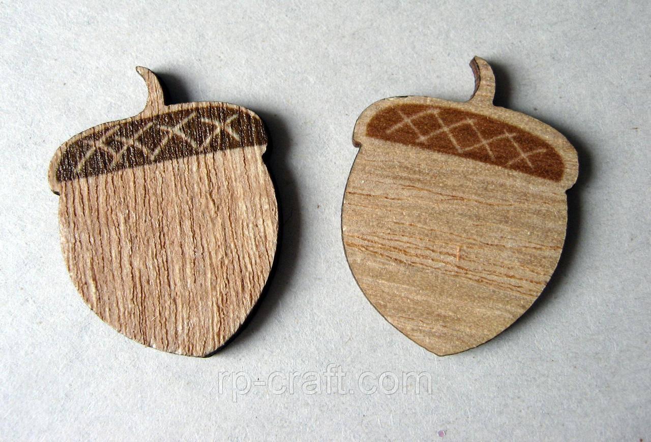 Дерев'яний декор. Жолудь, 24х32 мм