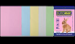 Набор цветной бумаги Buromax Pastel А4 80г/м2 20 листов 5 цветов