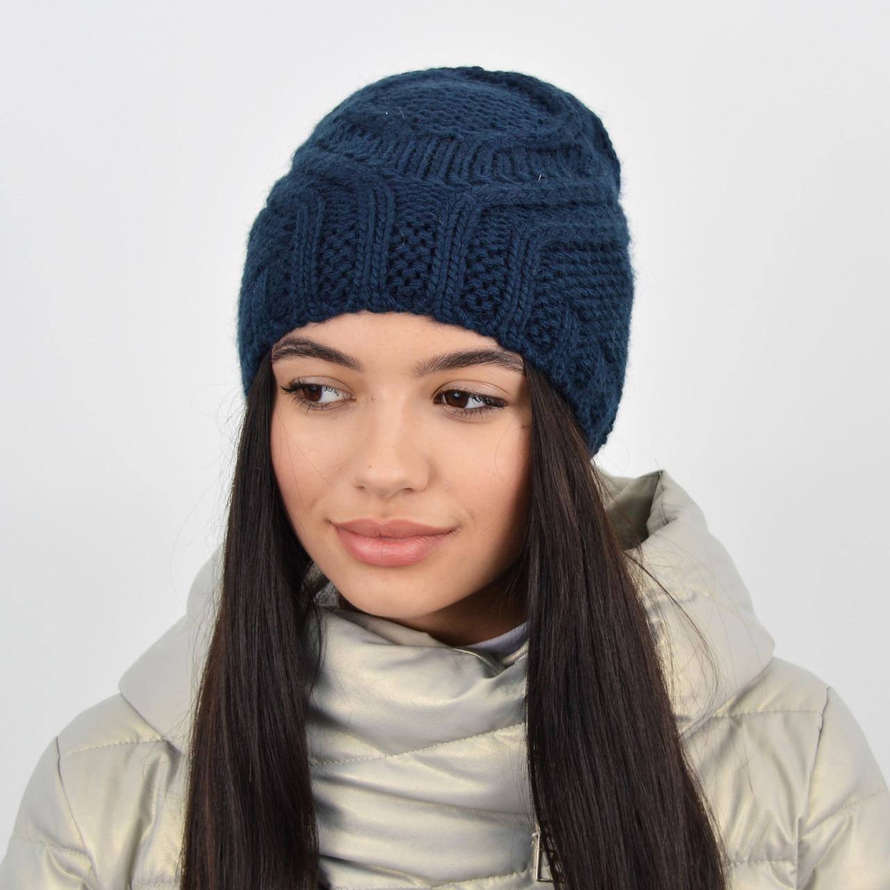 Женская шапка на флисе 3360 Синий