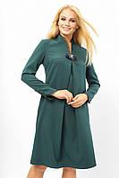 Праздничное женское платье с брошью Lipar Зеленое Батал