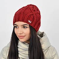 Женская шапка на флисе 3360 Бордо