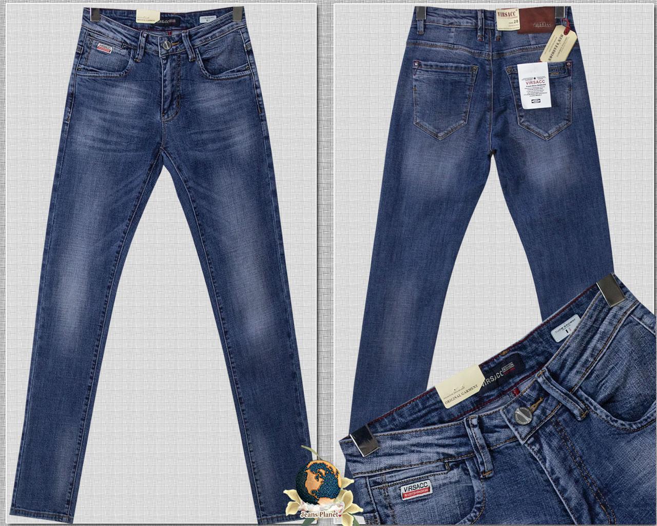 Джинсы мужские модные зауженные светло-синего цвета Virsacc