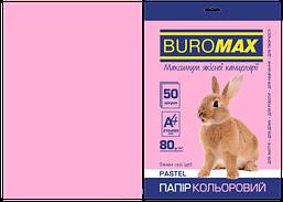 Бумага цветная Buromax Pastel А4 80г/м2 50 листов розовая