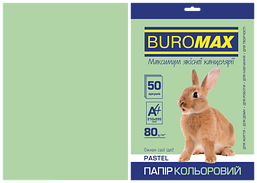 Бумага цветная Buromax Pastel А4 80г/м2 50 листов светло-зелёная