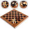 Шахматы, шашки, нарды 3 в 1 Деревянные Коричневые Белые 39 x 39 см  (СПО S4034)