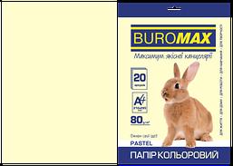 Бумага цветная Buromax Pastel 80г/м2 20 листов кремовая