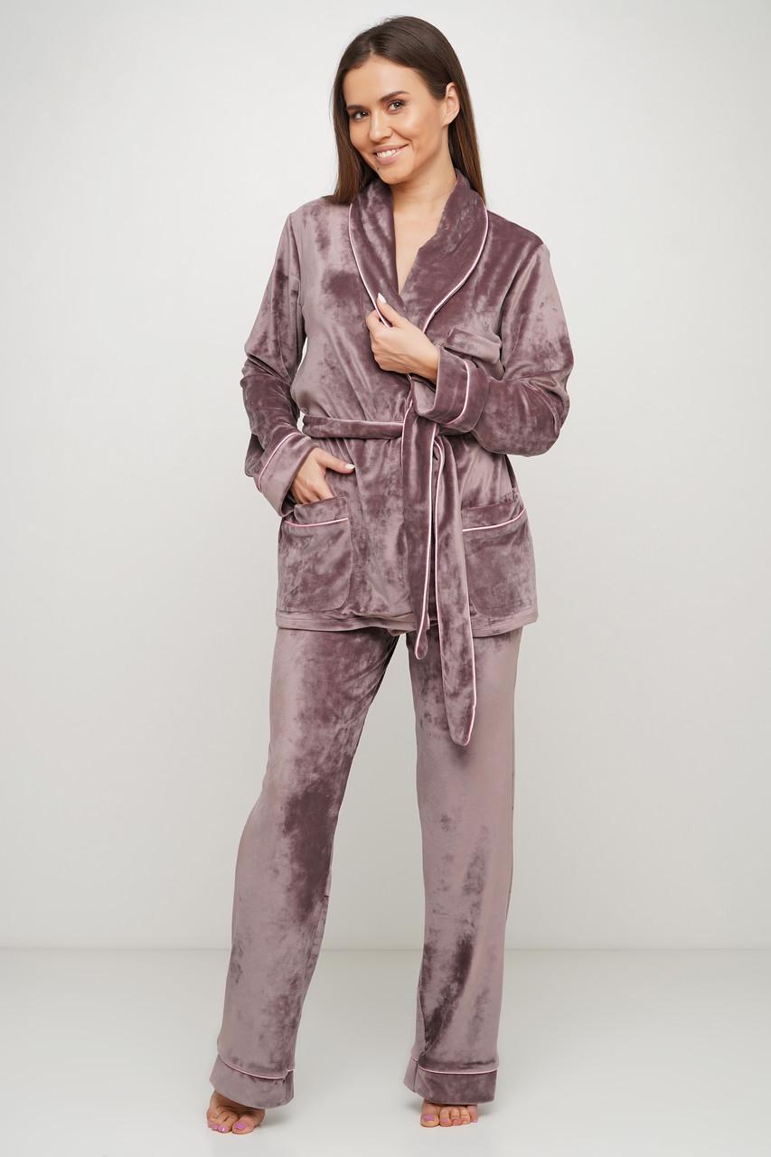 Теплый  домашний костюм халат и штаны