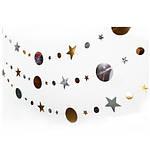 """Гирлянда золотистые+серебристые """"Звездочки и кружки"""" - длина нити 4м (диаметр самого большого кружка  9см), фото 2"""