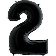 Фольгированная цифра 2 Черная 1 метр 1646