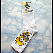 Носки мужские Гомер Симпсон белые размер 39-43