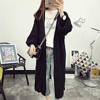 Модный теплый черный кардиган унисекс длинный, фото 1