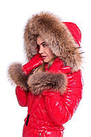 Зимний комбинезон с шикарной опушкой и варежками, натуральный мех енот съемный, фото 1
