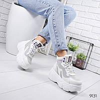 Женские демисезонные кроссовки хайтопы ботинки спортивные на массивной фигурной подошве белые, фото 1