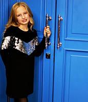 Платье черное на флисе с серебряными пайетками на девочку-подростка рост 134-176