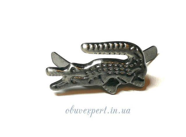 Декор невеликий Крокодил 20 * 10 мм Чорний нікель, фото 2