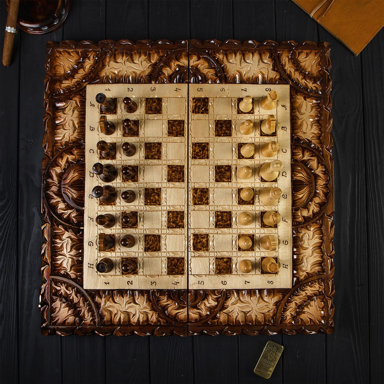 Дерев'яні шахи і нарди ручної роботи, ексклюзивні різьба по дереву