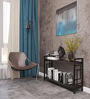 Стеллаж в гостиную Лонг 2 полки Квадро стиль Лофт Металл-Дизайн 700х1100х270