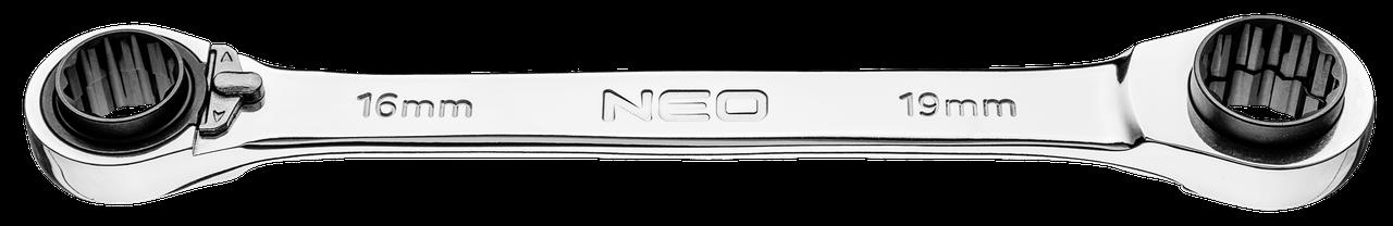Ключі накидні з трещіткою, 16 x 17 мм + 18 x 19 мм, 09-794, Neo