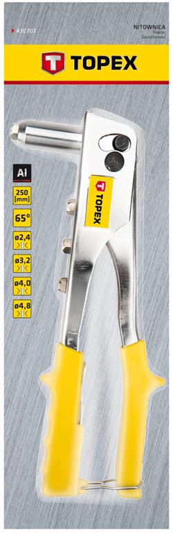 Заклепочник для заклепок алюмінієвих 2.4, 3.2, 4.0, 4.8 мм, 43E707, Topex