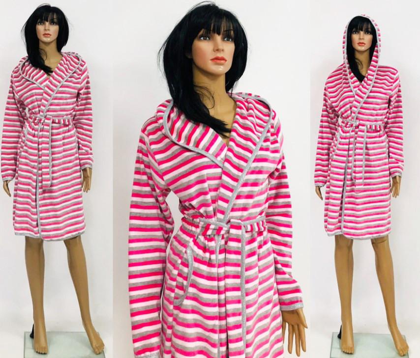 Велюровый полосатый халат разных цветов для беременных и кормящих 44-52 р