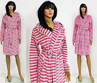 Велюровый полосатый халат разных цветов для беременных и кормящих 44-52 р, фото 1