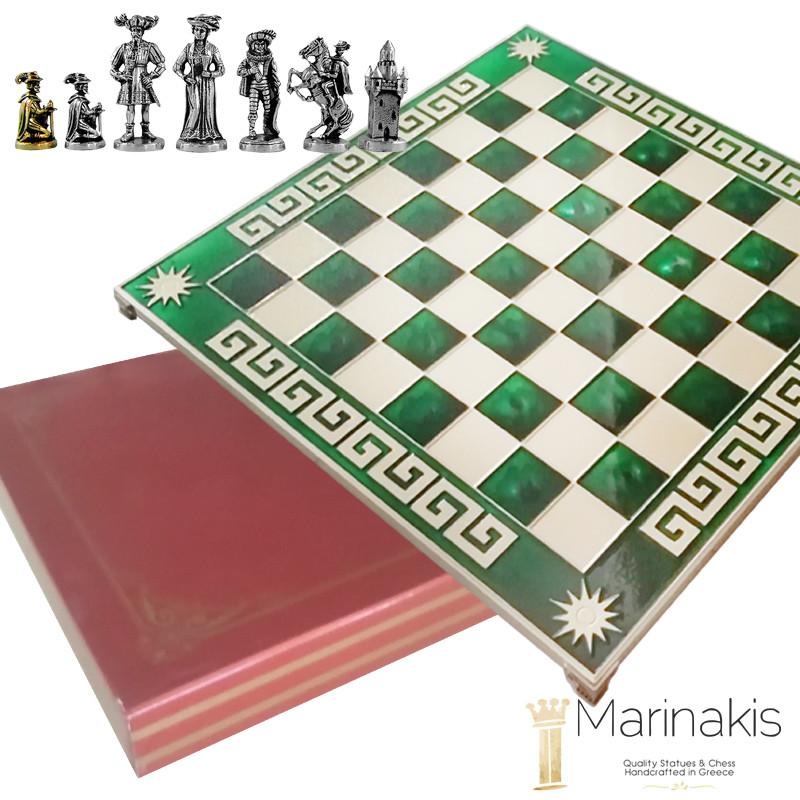 Шахматы Marinakis «Рококо-Средневековая Франция», 45х45 см, зеленые (086-4502KG)