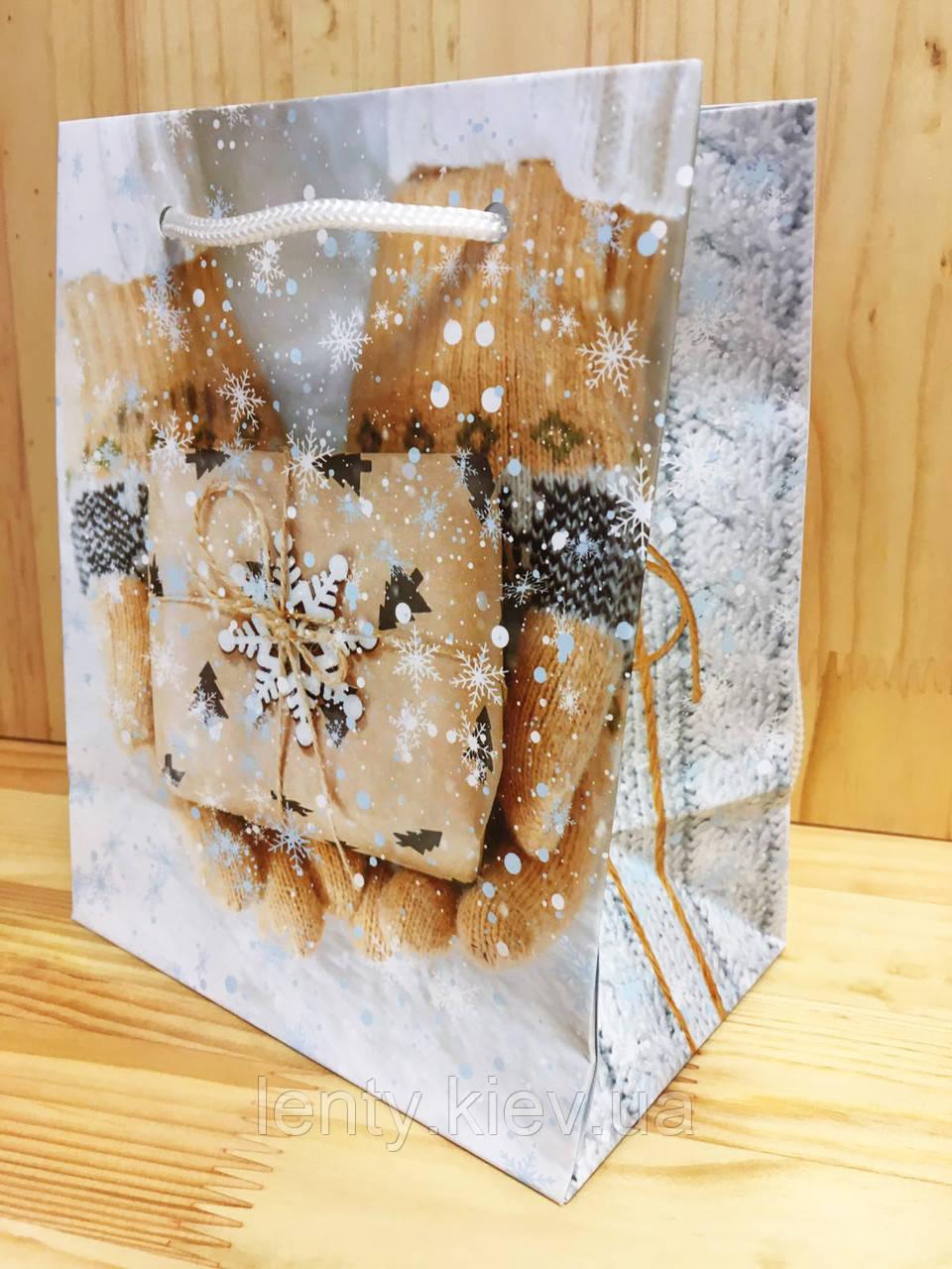 Новогодний пакет лимитированный 17,5х14х9 рукавички и подарок (PEN - 1605)